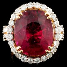 18K Gold 11.15ct Rubellite & 1.26ctw Diamond Ring