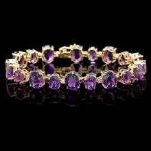`14k Gold 40.00ct Amethyst & 1.00ct Diamond Bracel