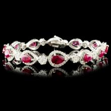 18K Gold 6.25ct Ruby & 2.60ctw Diamond Bracelet