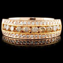14K Gold 0.81ctw Fancy Color Diamond Ring