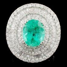 18K Gold 4.58ct Emerald & 3.22ctw Diamond Ring