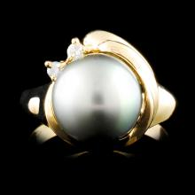 14K Gold 10.00MM Pearl & 0.04ctw Diamond Ring