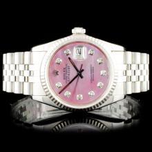 Rolex SS DateJust Diamond Wristwatch