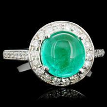 14K Gold 4.00ct Emerald & 0.60ctw Diamond Ring