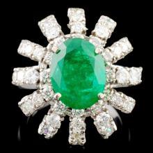 14K Gold 3.18ct Emerald & 1.76ctw Diamond Ring
