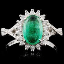 18K White Gold 1.28ct Emerald & 0.35ct Diamond Rin