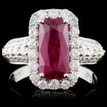 18K White Gold 2.78ct Ruby & 0.73ct Diamond Ring