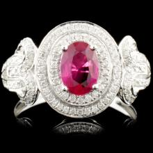 18K Gold 0.68ct Ruby & 0.36ctw Diamond Ring