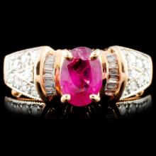 14K Gold 0.98ct Ruby & 0.34ctw Diamond Ring