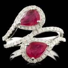 14K Gold 1.60ct Ruby & 0.60ctw Diamond Ring