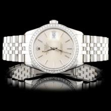 Rolex SS DateJust 1.00ct Diamond Wristwatch