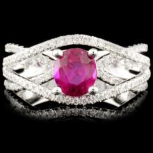18K Gold 1.04ct Ruby & 0.43ctw Diamond Ring