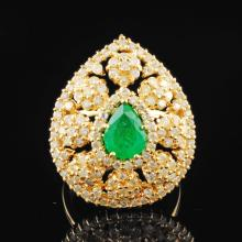 14K Gold 1.09ctw Diamond & .94ctw Emeralds Ring