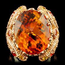 14K Gold 22.80ct Citrine & 1.22ctw Diamond Ring