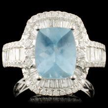 14K Gold 2.61ct Aquamarine & 1.30ctw Diamond Ring