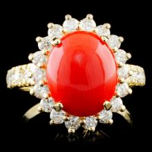 14K Gold 2.50ct Coral & 1.20ctw Diamond Ring