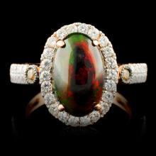 14K Gold 2.05ct Opal & 0.73ctw Diamond Ring