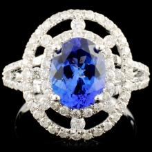 14K Gold 2.05ct Tanzanite & 0.75ctw Diamond Ring