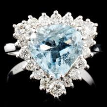 14K Gold 2.03ct Aquamarine & 0.71ctw Diamond Ring