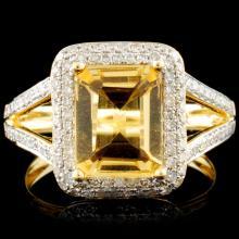 14K Gold 2.12ct Citrine & 0.56ctw Diamond Ring