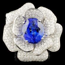 18K Gold 9.35ct Tanzanite & 5.52ctw Diamond Ring