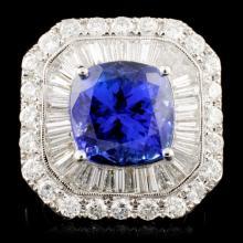 18K Gold 7.60ct Tanzanite & 3.33ctw Diamond Ring