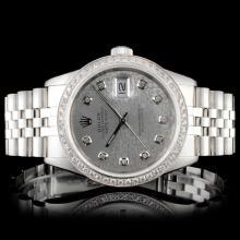Rolex SS DateJust 1.50ct Diamond Gents Wristwatch