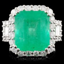 18K Gold 7.93ct Emerald & 1.67ctw Diamond Ring