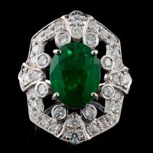 14K Gold 3.63ct Emerald & 1.24ct Diamond Ring
