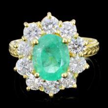 14K Gold 3.00ct Emerald & 1.50ctw Diamond Ring
