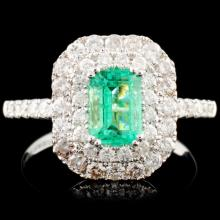 18K Gold 0.70ct Emerald & 0.86ctw Diamond Ring