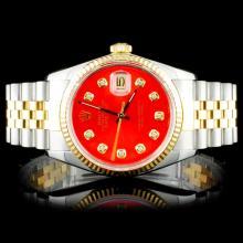 Rolex Two Tone DateJust Diamond Wristwatch