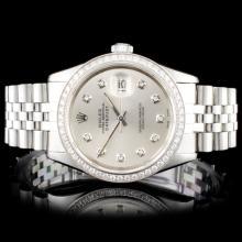 Rolex SS DateJust 36mm Diamond Wristwatch