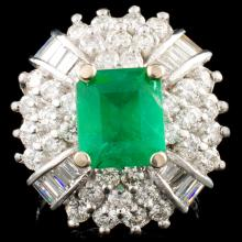 14K Gold 2.00ct Emerald & 2.53ctw Diamond Ring