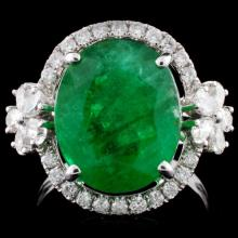 18K White Gold 6.19ct Emerald & 0.82ct Diamond Rin