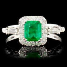14K Gold 0.68ct Emerald & 0.40ctw Diamond Ring
