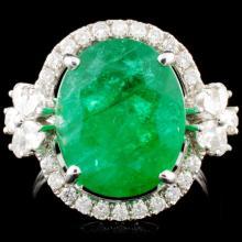 18K Gold 6.19ct Emerald & 0.82ctw Diamond Ring
