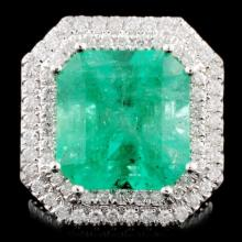 18K Gold 9.68ct Emerald & 3.78ctw Diamond Ring