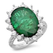 14K Gold 8.50ct Emerald & 1.15ct Diamond Ring
