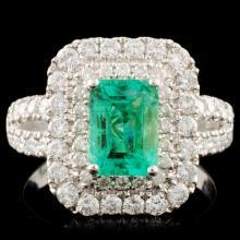 18K Gold 1.32ct Emerald & 1.19ctw Diamond Ring