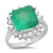 14K Gold 5.00ct Emerald & 0.60ct Diamond Ring