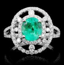 14K Gold 1.55ct Emerald & 0.75ct Diamond Ring