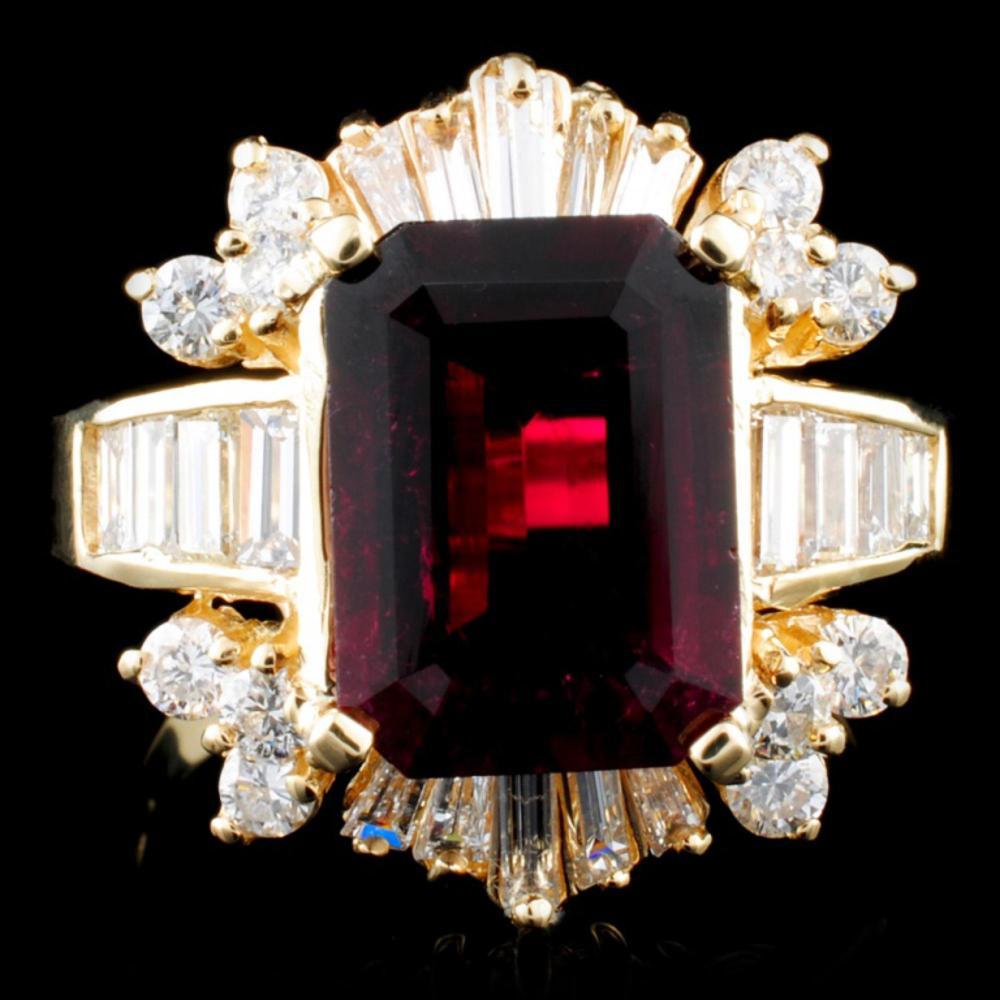 14K Gold 3.91ct Tourmaline & 1.69ctw Diamond Ring
