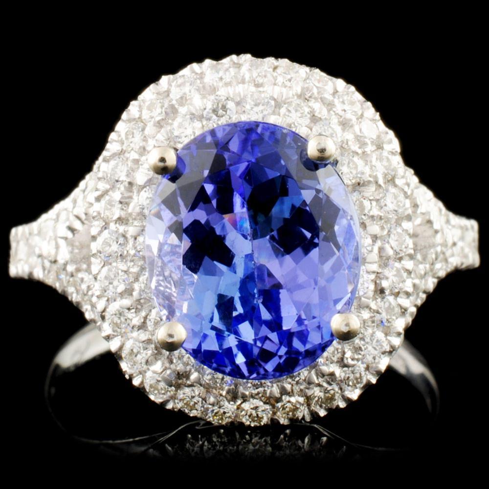 14K Gold 3.58ct Tanzanite & 0.80ctw Diamond Ring