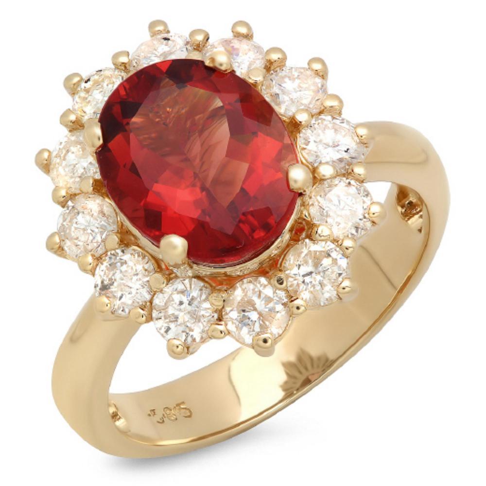 14K Gold 3.50ct Ruby & 1.25ct Diamond Ring