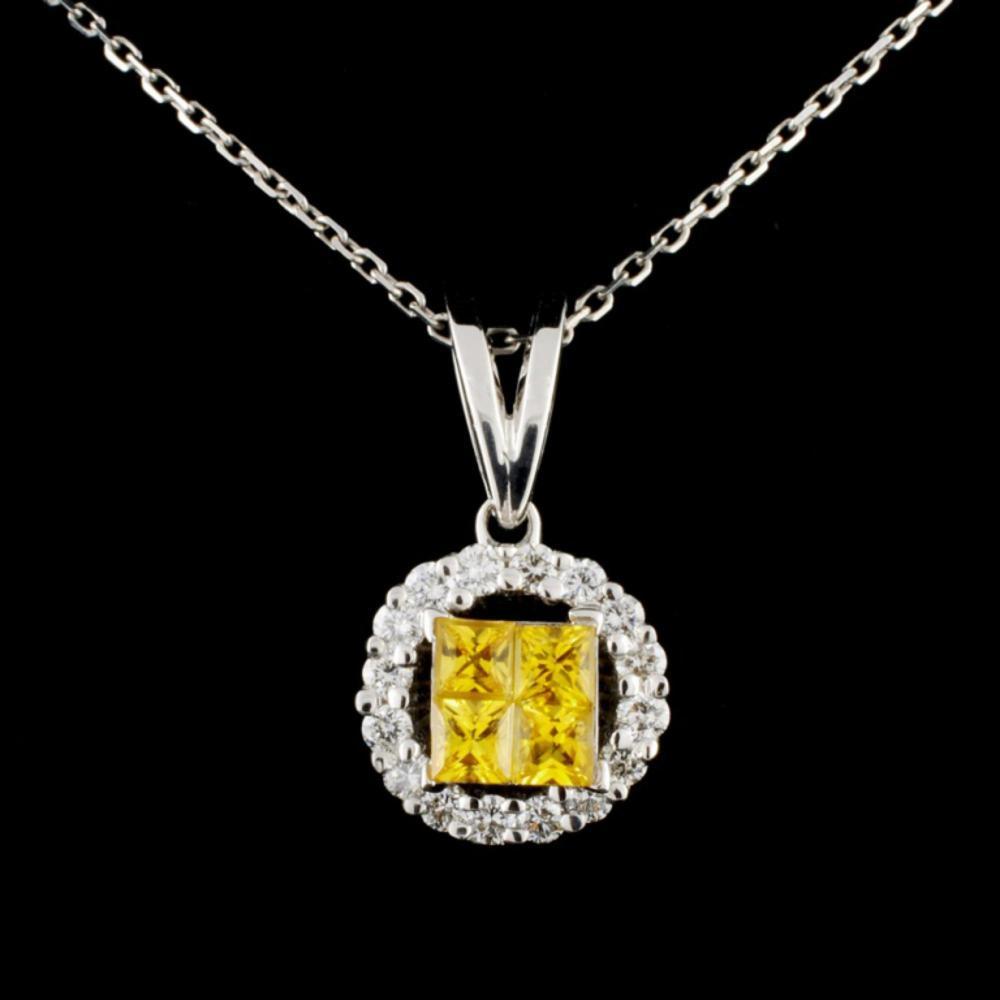 18K Gold 0.75ctw Sapphire & 0.44ctw Diamond Pendan