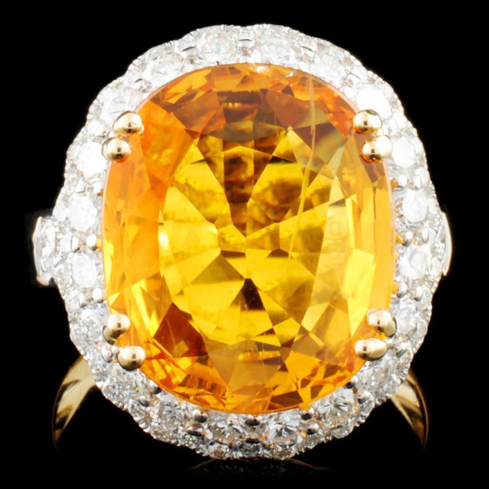 14K Gold 8.75ct Sapphire & 1.23ctw Diamond Ring