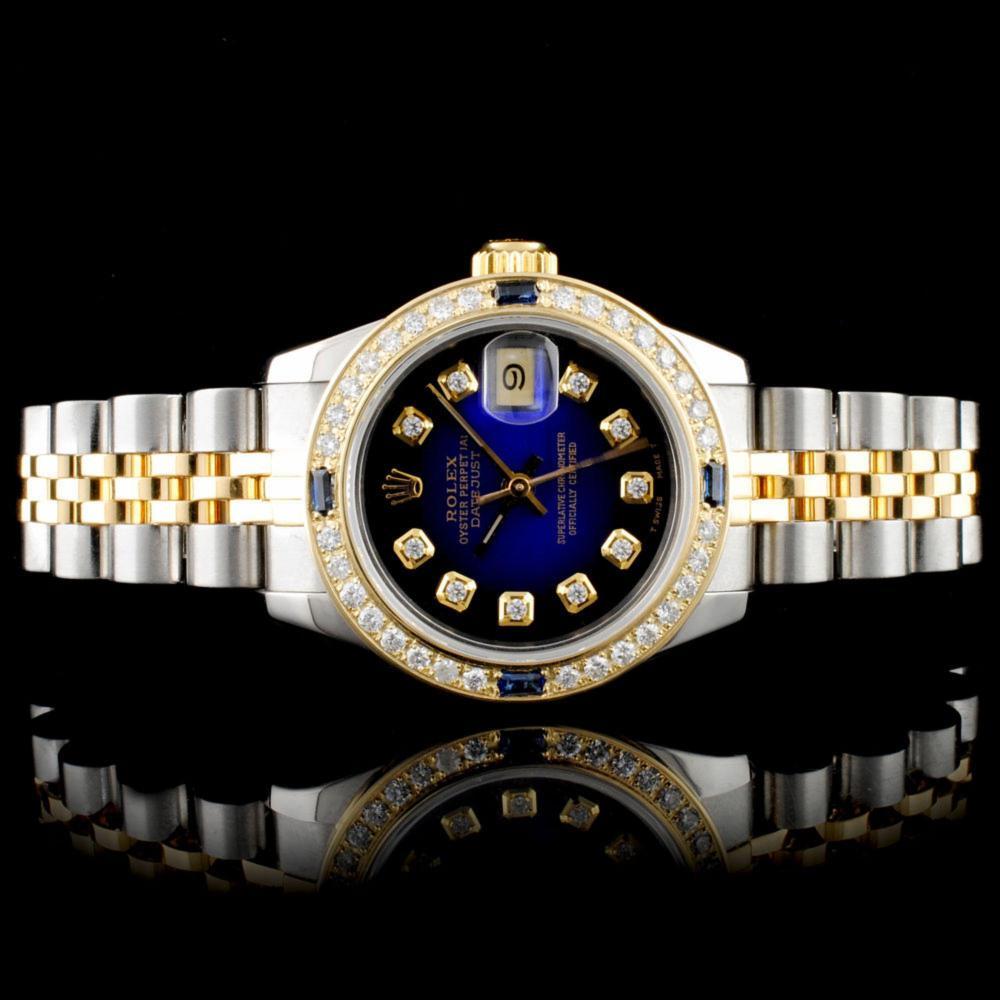 Rolex DateJust 18K & SS 1.00ct Diamond Blue Vignet