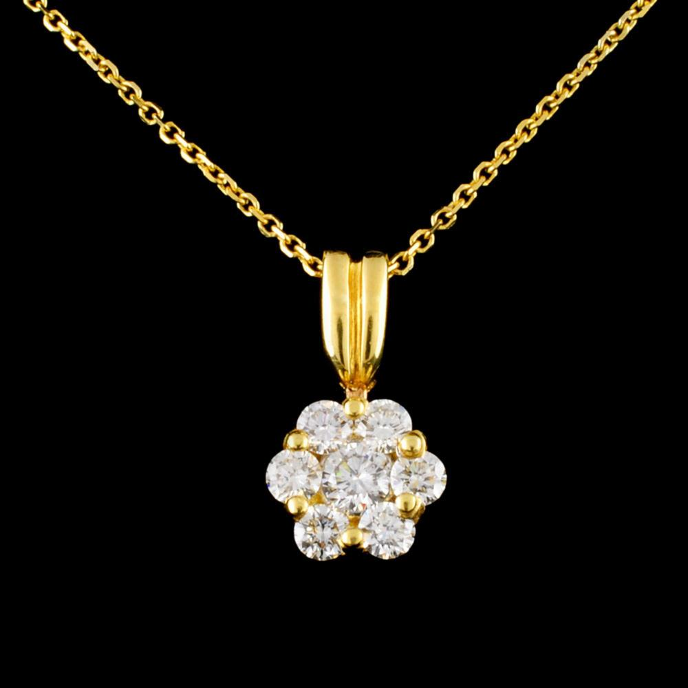 18K Gold 0.70ctw Diamond Pendant