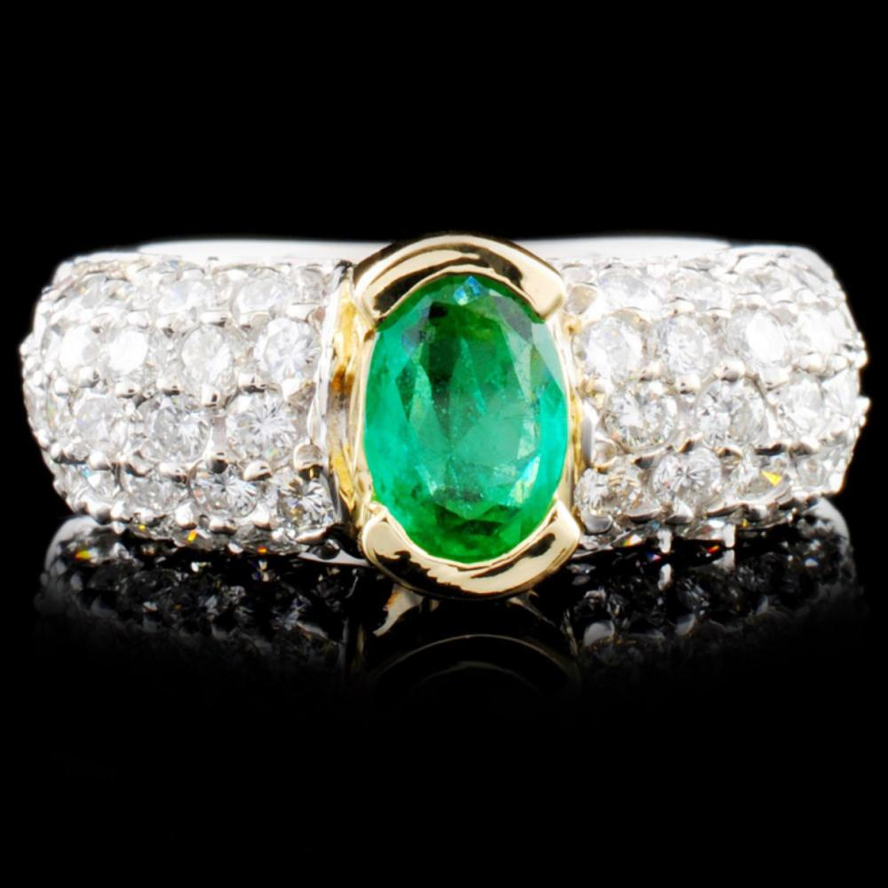 14K TT Gold 1.00ct Emerald & 1.88ctw Diamond Ring